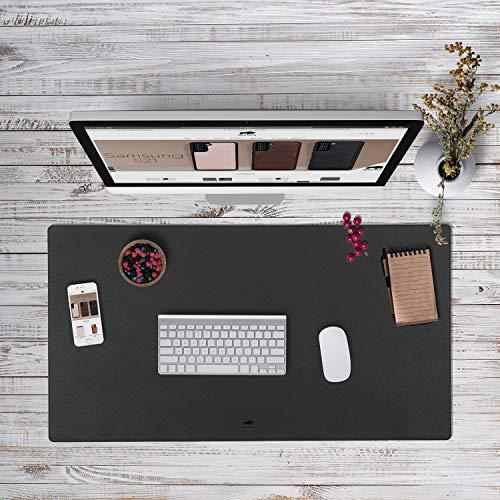 Solo Pelle Hochwertige Schreibtischunterlage Leder für Bürotisch - handgefertigte Schreibunterlage aus Leder - Edel Schreibtisch Unterlage (Matt Schwarz, 48cm x 90cm)