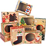 36 Packs Christmas Cookie Boxes with Window Christmas Bakery Box Kraft Gift Treat Box for Pastries Cupcakes Candy Holiday Gift and Party Favor 8.3x5.9x3.7 Inches by Colorbib