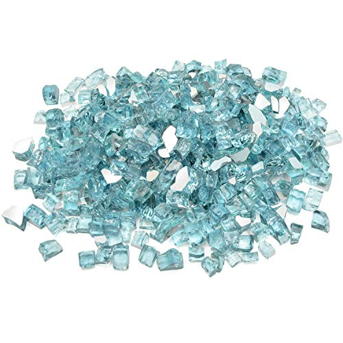 Stanbroil 20-Pound 1/2 inch Fire Glass for Fireplace Fire Pit, Caribbean Blue Reflective