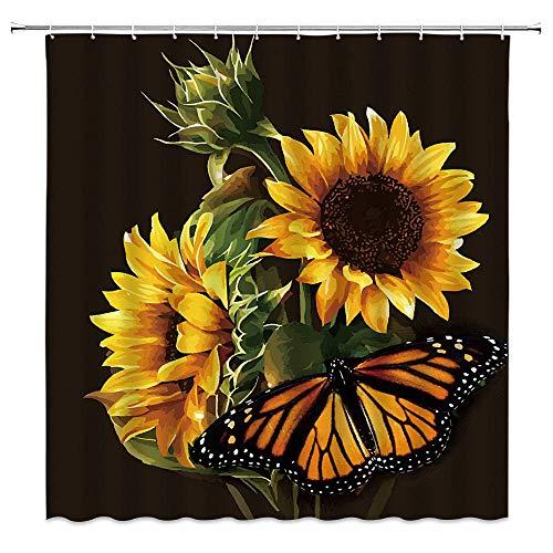 WZFashion Schmetterling lila Blumen Badezimmer Decor Duschvorhänge Floral Decor Badewanne Vorhang Deko Vorhang Rosa Blau Grün Schwarz/Sonnenblume