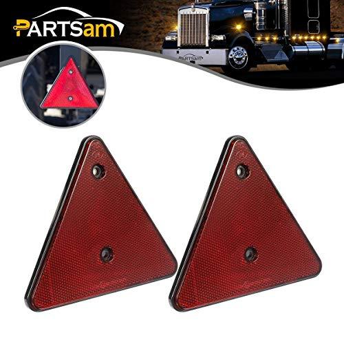 PARTSAM 2pcs Red Triangle Reflektoren, Maypole Dreieck Warnreflektoren für Trailer Truck Boards Caravan Gate ect.