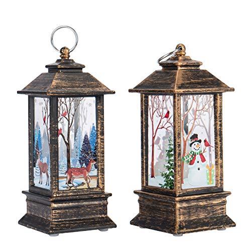 QILICZ 2 stück Weihnachten LED Laterne mit Flackereffekt Beleuchtung Kerzen, Tischleuchte und hängen Laterne Lampe Weihnachtsdeko Weihnachtsbeleuchtung - Rentier und Schneemann Licht,13x5.3x5.3cm