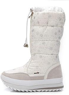 b727ee47ad8 AARDIMI Womens Winter Snow Boots Warm Fur Lining Waterproof Shoes Outdoor  Windproof Mid Slip on Flat