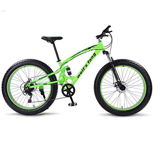 cuzona Bicicleta Bicicleta de montaña 7/21 Velocidad Bicicletas gordas 26 * 4 0 Bicicleta de Carretera Bicicleta de Nieve Full Shockingprllf Cuadro Macho -Verde_7velocidad_China