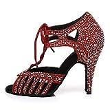 SWDZM Zapatos Baile Latinos Mujer,Zapatos Baile de Salon Mujer,Salsa,3.35' Talón,Modelo Rojo 34EU
