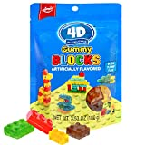AMOS Lego Candy 4D Gummy Blocks for Kids Creation Gift Soft Chewy Bricks Snacks with Strawberry Apple Blueberry Lemon Juice 3.52 Oz Per Bag (Pack Of 12)