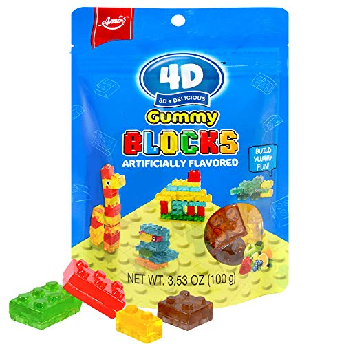 AMOS 4D Gummy Blocks Fruity Lego Candy for Kids Construction Soft Chewy Brick Snacks with Strawberry Apple Blueberry Lemon Juice 3.52 Oz Per Bag (Pack Of 12)