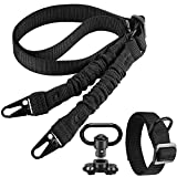 AIRSSON Tactical Rifle Sling: Adjustable Traditional Sling, 2 Point Quick Adjust Rifle Strap with Swivels, 2 Point Sling with D Ring Loop for Hunting