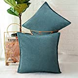 Decorative Teal Blue Throw Pillow Covers Soft Chenille Square Farmhouse Pillow Covers Set of 2 Home Decor Throw Pillowcase for Sofa Couch Bed Chair 18x18 Inch