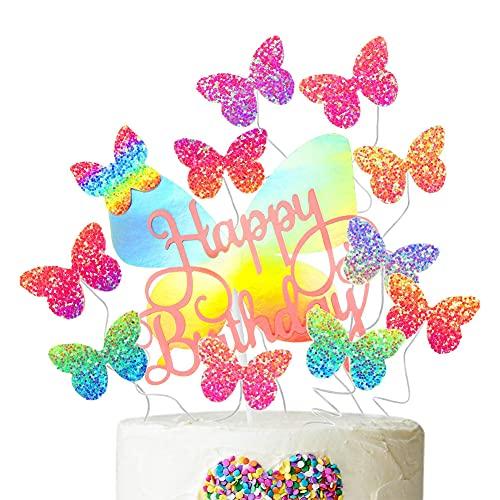 SIEBOLD 12Pcs Topper de Tarta Mariposa,Topper Tarta Decoración Mariposas,Topper Tarta Happy Birthday...