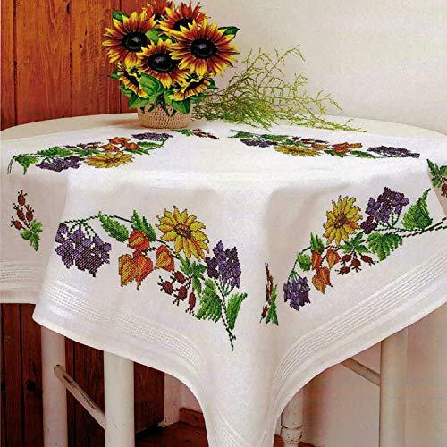 Kamaca - Kit de punto de cruz para mantel de verano, juego de punto de algodón (mantel de 80 x 80 cm)