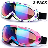 RNGEO Ski Goggles, Pack of 2, Snowboard Goggles for Kids, Boys & Girls