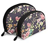 Lush Flowers and Leaf Travel Portable Cosmetic Bags Organizer Set of 2 for Women Teens Girls