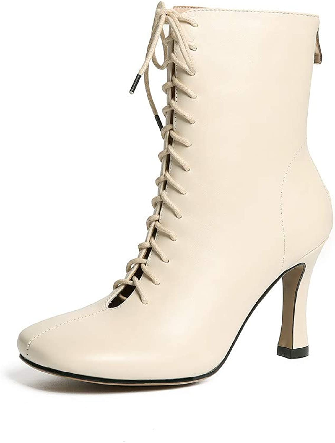 Nine Seven Women's Genuine Leather Square Toe Sexy Stiletto Heel Handmade Glossy and Comfortable Ankle Boots