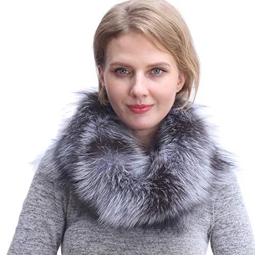 URSFUR Scaldacollo/Sciarpa Invernale da Donna in Pelliccia di Volpe,Regalo Nobile Invernale,Mostra Tuo Fascino-Chiaro