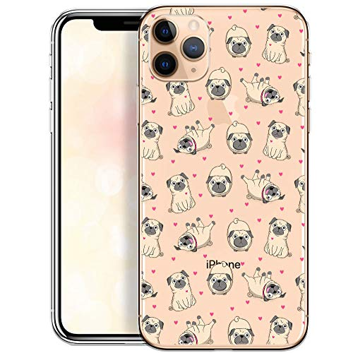 OOH!COLOR Custodia Compatibile con Cover iPhone 11 PRO Trasparente con Disegni Silicone Morbido Chiaro Cristallo Anti-Scratch Bumper Case per iPhone 11 PRO Carlino (MONOUSO)