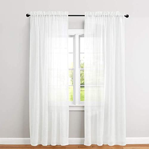 White Linen Curtain Panels: Amazon.com