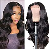 Body Wave Lace Closure Wigs Human Hair for Black Women Brazilian Virgin Human Hair Lace Front Wigs Pre Plucked with Baby Hair Natural Color (18INCH)