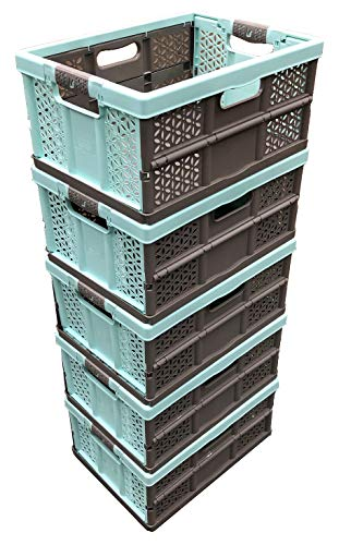 5 x 32 Litre Extra Strong Folding Plastic Stacking Storage Crates Box -...