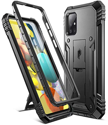 Poetic Revolution Series for Samsung Galaxy A51 5G Case, Full-Body Rugged Dual-Layer Shockproof Protective Cover with Kickstand and Built-in-Screen Protector, Black