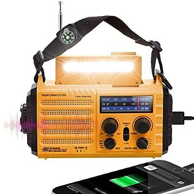 5-way Powered 5000mAh Weather Radio, NOAA Emergency Crank Solar AM/FM/Shortwave Radio with Flashlight, Reading Lamp, SOS Alarm, USB Charging Port, Portable Outdoor Survival Kit for Earthquake Flooding