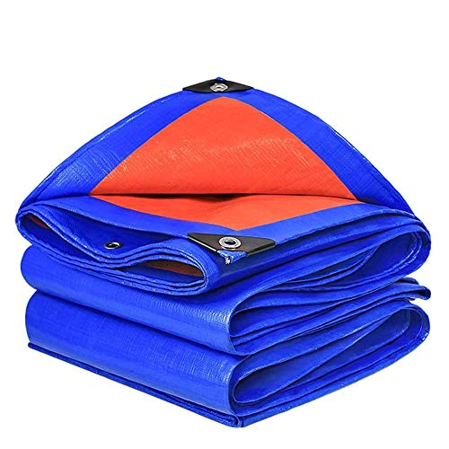 ALGFree-Parasole Vela Plastic Rainproof Tarp Outdoor Tarpaulin Cover For Patio Garden Pergola Kennel Canopy Awning (Color : Blue+Orange, Size : 3x3m)