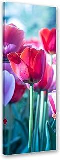 Farbenfrohe Osterglocken und Tulpen  Leinwandbild Wanddeko Kunstdruck
