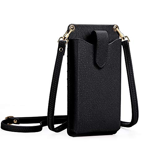 Peacocktion Small Crossbody Cell Phone Purse for Women, Lightweight Mini Shoulder Bag Wallet with Credit Card Slots (Black)