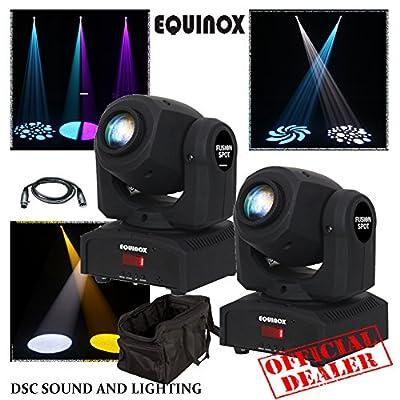 2 X EQUINOX FUSION SPOT MKII LED 12W MINI MOVING HEAD WITH 3M DMX LINK LEAD & TRANSPORT BAG