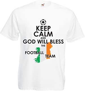 lepni.me T Shirts for Men Keep Calm and God Will Bless The Ireland National Football Team