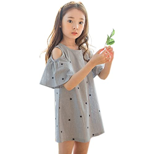 be388b8485475 FireflyShop 子供 ワンピース オフショルダー ワンピ 半袖 オープンショルダー 肩開き 子供服 キッズ 女の子 ドレス