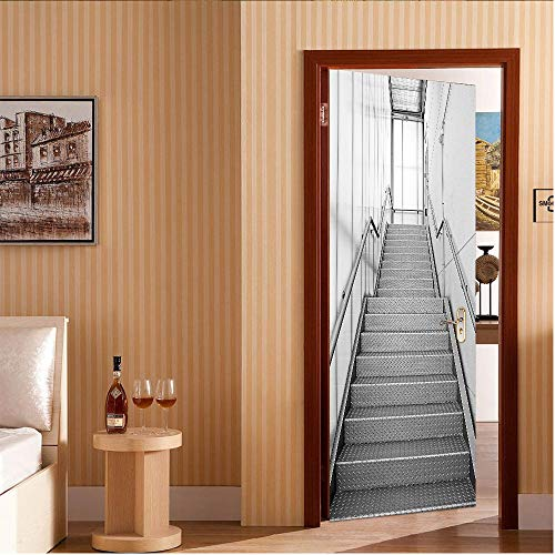 PVC Waterproof and mildew proof Door Stickers Grey stairs Door Stickers Mural 3D Removable Self-adhesive 77 * 200CM