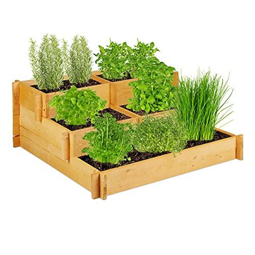 Relaxdays Hochbeet 3 Etagen, Holz, Stufenbeet für Balkon, Garten, Kräuterbeet Stecksystem HxBxT 37x93x93 cm, Natur