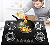 30 Inch Gas Cooktop Gas Hob Stovetop,5 Burners Natural Gas Cooktops,5 Sealed Burners Kitchen High Power Tempered Glass Built-In Stove Gas Hob Cooktop Black