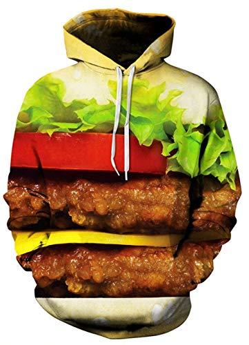 Huixin Felpa con Cappuccio Stampa 3D Unisex Felpa con Cappuccio Autunno Inverno Manica Lunga Costume Sciolto con Cappuccio da Donna da Uomo (Color : Hamburger, Size : M)