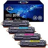 4 Uniwork Compatible 201X Cartuchos de tóner para HP 201X 201A CF400X CF401X CF402X para HP Laserjet Pro MFP M277dw M277n M252dw M252n M274n M277c6 (1 Negro, 1 Cian, 1 Amarillo, 1 Magenta)