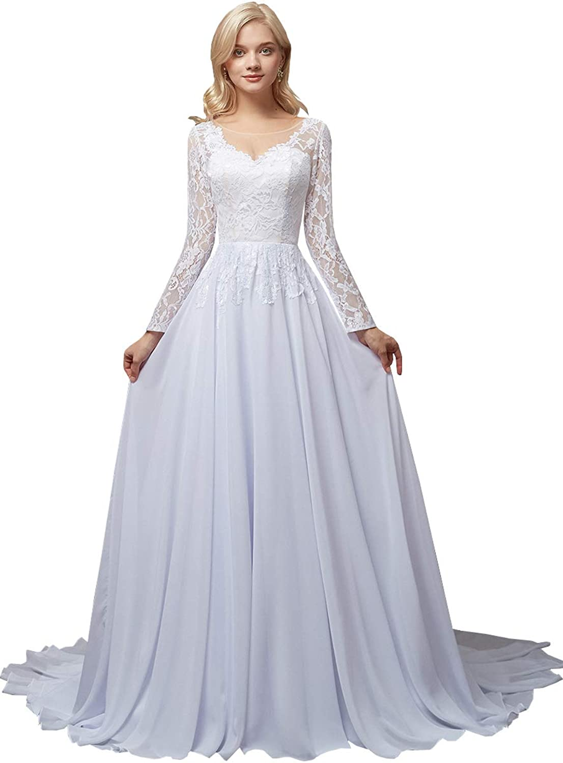 Bridal Wedding Dresses Sweep Scoop Long Sleeves Lace Button ALine Prom Dress