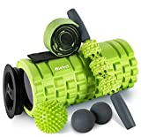 HBselect Foam Roller 5 in 1 Set Attrezzi Fitness Multiuso Rullo di Schiuma con Bastone da Massaggio, Elastico Fitness, Doppia Pallina Lacrosse e Pallina a Riccio Rullo Massaggio Muscolare