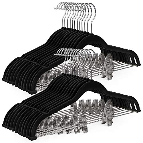 SONGMICS 30-Pack Pants Hangers, 16.7-Inch Long Velvet Hangers with Adjustable Clips, Non-Slip, Space-Saving for Pants, Skirts, Coats, Dresses, Tank Tops, Black UCRF12B30