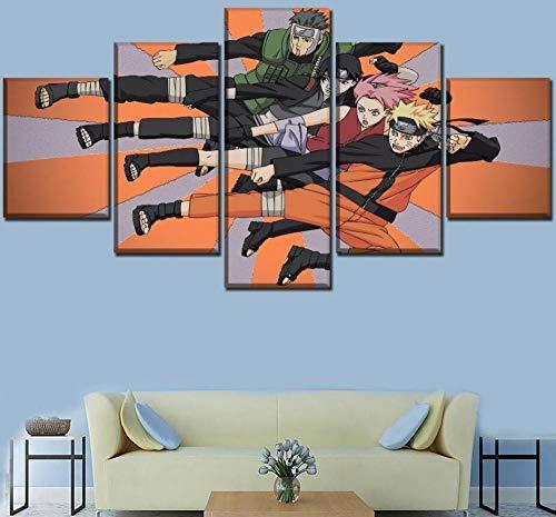 WLHZNB Stampe e Quadri su Tela 5 Pezzi Naruto Shippuden Anime HD Poster Arte Murale Pittura Moderna Soggiorno Moda Decorazione per La Casa (Taglia B) Senza Cornice