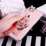 Coque iPhone 6S Plus,Coque iPhone 6 Plus,ikasus [Support de bague] Placage brillant strass diamant Miroir Silicone Gel TPU Souple Housse Etui Case Coque pour iPhone 6S Plus/6 Plus,Couronne en or rose