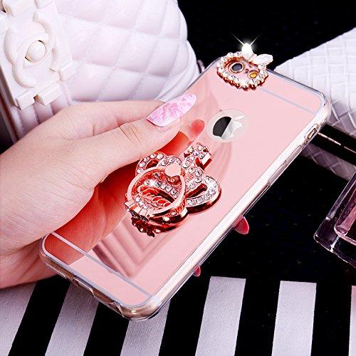 Cover iPhone 6S,Cover iPhone 6,ikasus [Ring Stand] cristallo scintillio strass Diamante Glitter Placcatura specchio Gel Clear Morbida Silicone TPU Custodia Cover per iPhone 6S/6,Corona d'oro rosa