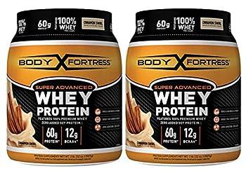 Body Fortress Super Advanced Whey Protein Powder Gluten Free Cinnamon Swirl 2 lbs  2 Pack