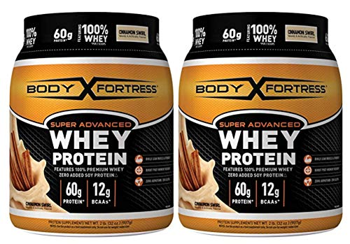 Body Fortress Super Advanced Whey Protein Powder, Gluten Free, Cinnamon Swirl, 2 lbs (2 Pack)