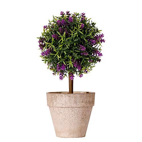 WESEEDOO Fausse Plantes Fausse Plante Décorations de pâques Plantes Face Intérieure Petit Bureau Décor Véranda Décor Artificielle des Plantes en Plein Air Purple
