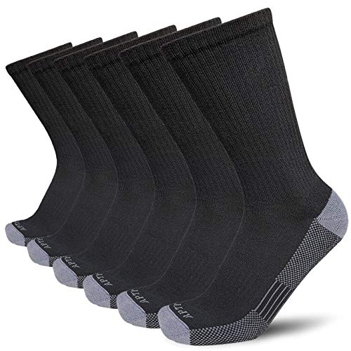 APTYID Men's Moisture Control Cushion Crew Work Boot Socks, Black, Sock Size 10-13, 6 Pack