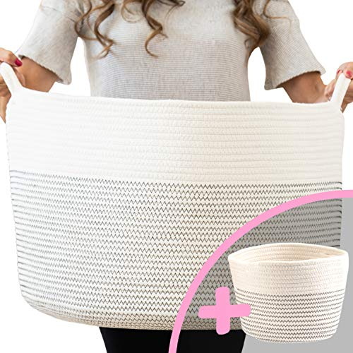 "Mejor Breezy Baby XXXLarge Cotton Rope Basket 21.7"" x 21.7"" x 13.8"" Blanket Storage Basket with Large Handles 