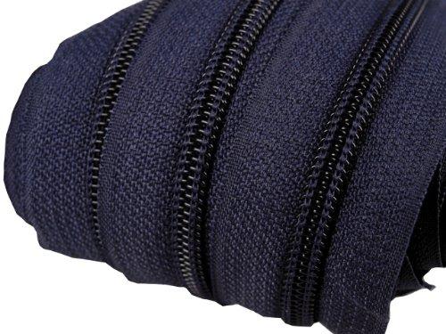 Schnoschi 2 m endlos Reißverschluss 5 mm Laufschiene + 5 Zipper Meterware teilbar Farbwahl (dunkelblau)