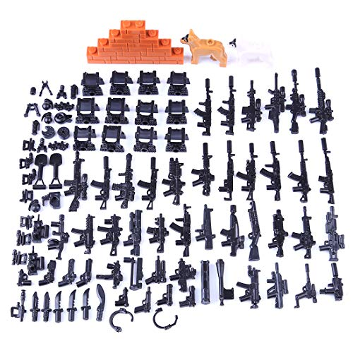 OviTop 30St. Millitärspielzeug Weste, Polizeihund und Waffe Set für Soldaten Minifiguren SWAT Polizei, Kompatibel mit Lego Figuren