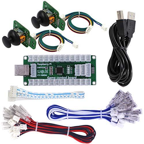 SJ@JX Arcade Game Controller USB EncoderBoard Gamepad LED Microswitch ButtonAnalog Joystick Flying Stick for Nintendo Switch PC PS3 Retropie Raspberry Pi